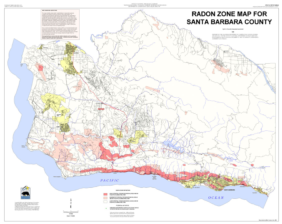 Radon At Tahoe Radon Maps - Los angeles ventura map