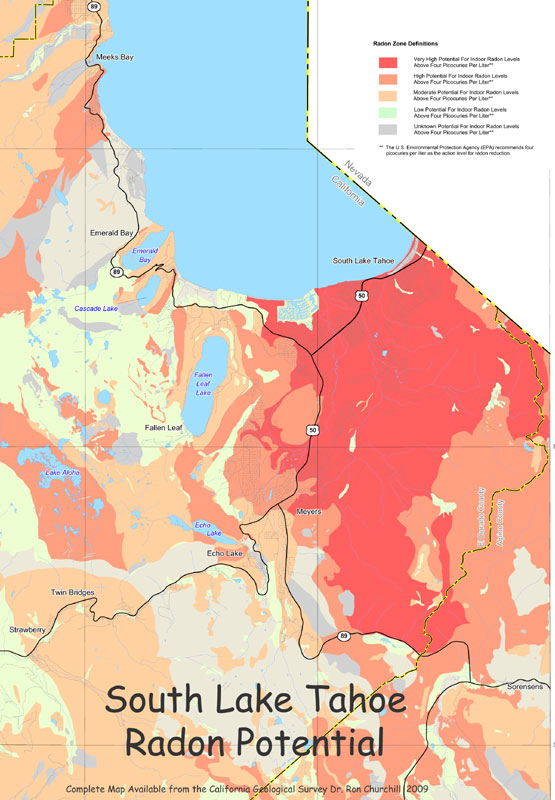 Radon At Tahoe - Radon us map