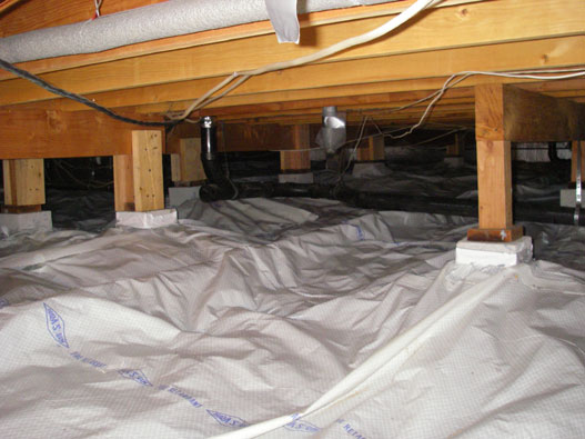 crawl space it is interesting to note that correcting the original tarp job has not altered or improved the functioning of the system